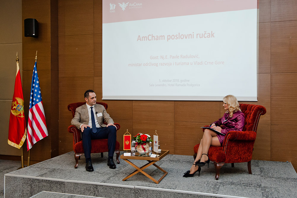 Minister Pavle Radulović guest of the Amcham's business luncheon