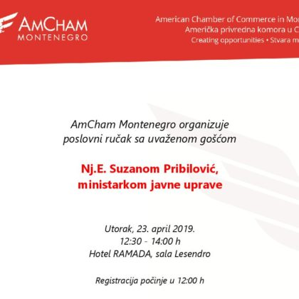 Business Luncheon with H.E. Suzana Pribilović, Minister of Public Administration